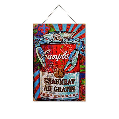Great Tin Sign Aluminum 24x18,CRABMEAT AU GRATIN,Tin Wall Signs Retro Iron Painting Vintage Metal Plaque Decoration Hanging Artwork Poster for Bar Cafe Store Home Yard