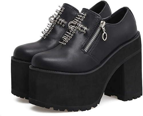 DANDANJIE Femmes Chaussures Rivets Cheville Bottes Tête Ronde Super Hauts Talons Occasionnels Noir,noir,36EU