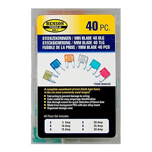 Sicherungssatz Mini 40tlg. Sortiment 5-30A Stecksicherung Flachsicherung
