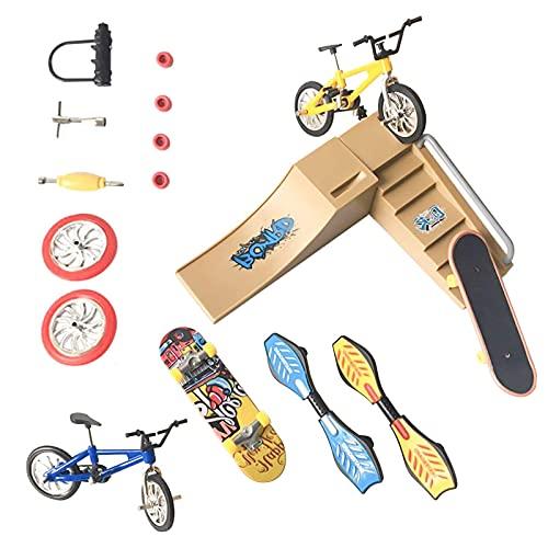 solawill Finger Fahrrad, Mini Finger Skateboard Skateboard Fingerspielzeug Requisiten Fingerspitzen Bewegung Simulation Bikes Finger Roller mit 9 Stück austauschbares Zubehör Geschenke Partyartikel