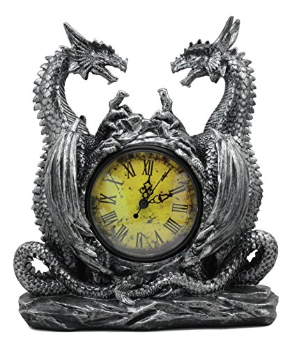 Ebros Gothic Double Dragon Table Clock Office Desktop Accent Mythical Legend of The Dragon Iron Thrones