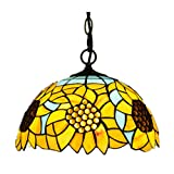 Kemeng Tiffany Style Chandelier, European Pastoral Yellow Sunflower Pendant Light, Handmade Stained Glass Creative Lighting Fixtures for Living Room Bedroom Kitchen