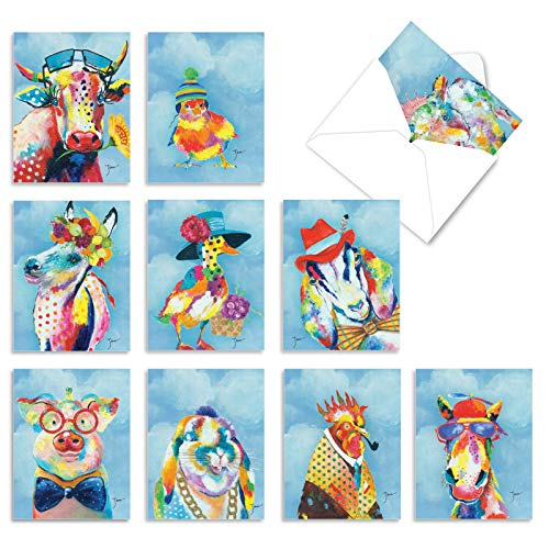 Funny Animal Thank You Cards (Box of 10 with Envelopes) -