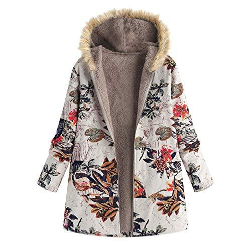 VEMOW Heißer Elegante Damen Frauen Warme Outwear Vintage Geometric Print Mit Kapuze Taschen Oversize Weste Mantel Jacke Winter Herbst(Rot, EU-42/CN-XL)