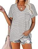 TOPLAZA Camiseta de Mangas Cortas Raya Color Liso Mujer Escote Redondo en Pico con Bolsillo