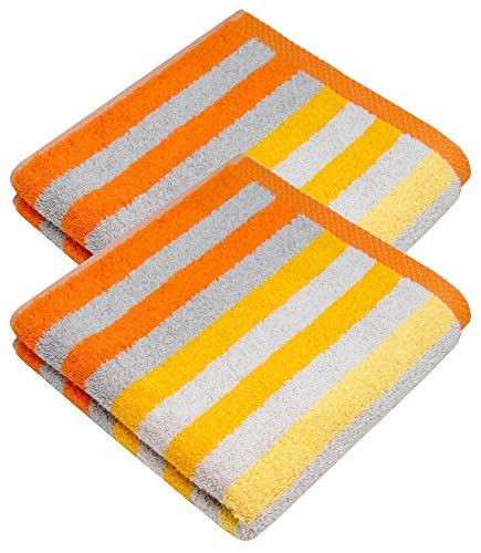 Lashuma Gestreiftes Handtuch Set 50x100, 100% Baumwolle, 2 Stück Frotteetuch Handtücher, Farbe: Mais - Gelb