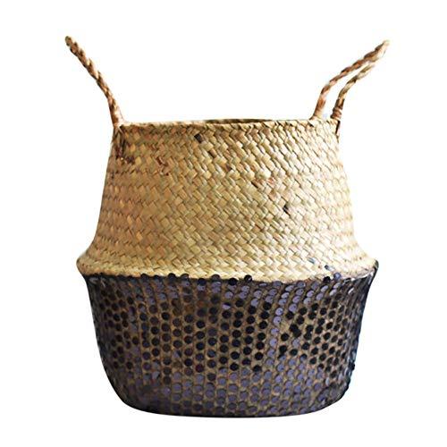 Hukz Natürlicher Handgewebt Seegras Korb mit Griff, Faltbare Paillette Seagrass Basket Wäschekorb Picknickkorb Blumentöpfe, Spielzeugkasten Kaminkorb Aufbewahrungskorb für Kinderzimmer