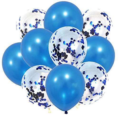 60 Stück 12 Zoll Latex Luftballons Konfetti Ballon für Geburtstag Hochzeitsfeier Dekorationen (Blau Weiß)