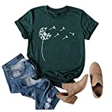 EDC Graphic Tees for Women Basic Casual Dandelion Print Short Sleeve Pullover Crewneck T Shirt Shirts Tops Blouse Army Green