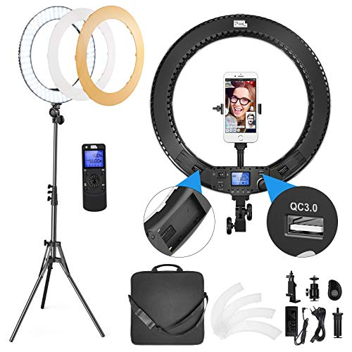 Pixel Ring Light 18 Inch, 60W Bi-Color LED Ring Light with Stand and Remote Controller for Camera, iPhone, Smartphones, Video Conference, Zoom, Vlog, YouTube, TikTok,Self-Portrait Shooting,Photography