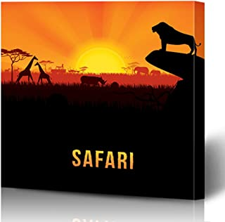 Onete Canvas Prints Painting Artwork 8x8 Africa Landscape Animal Graphic African Tourists Lion Animals Wildlife Textures Nature Safari Rock Wall Art Printing Home Bedroom Living Room Office Dorm