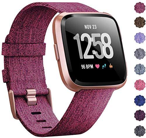 RONSHIN Woven Horlogeband Compatibel met Fitbit Versa/Fitbit Versa 2/Fitbit Versa Lite Edition Ademende stof Band voor Mannen Vrouwen Smartwatch roosrood