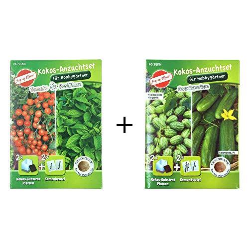 Gartenland Aschersleben Gemüse Anzuchtset für Innen, Balkon oder Terrasse - Tomaten, Basilikum, und Snackgurken