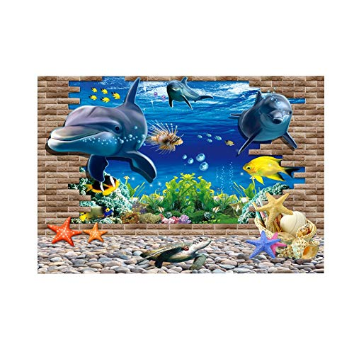 Zouminy Aquarium achtergrond-poster mooi aquarium achtergrond affiche PVC-stickers decoratief oceaan-landschapspapier, 122.46