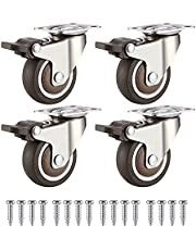 Zwenkwiel, 4 Stuks PU Zwenkwielen, Meubel Zwenkwiel, Zwenkwielen met Remmen, Draagvermogen 44 kg per Wiel, voor Trolleys, Vervangende Zwenkwielen Voor Industriële Apparatuur