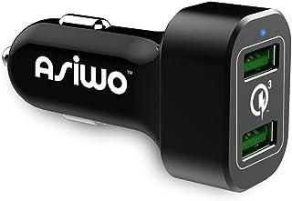 شحن سريع 3.0 Asiwo شاحن سيارة USB مزدوج 18 واط - شاحن ذكي مزدوج منفذ هاتف سيارة متوافق مع سامسونج جالاكسي S9 S8 بلس، بيكس...