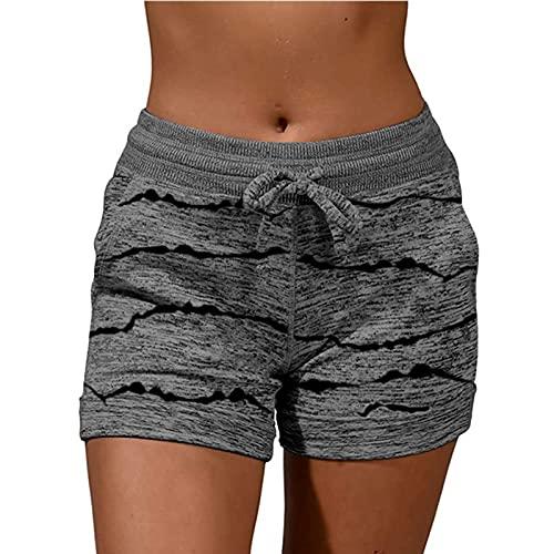 Damen Sport-Shorts, elastischer Taillenbund, Kordelzug, lässige Sweatshorts, bequeme Sommer-Shorts mit Taschen, Yoga, Laufen, dunkelgrau, S