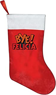 YyTiin Bye Felicia Classic Red & White Plush Mercerized Velvet Christmas Stockings Gift/Treat Bags