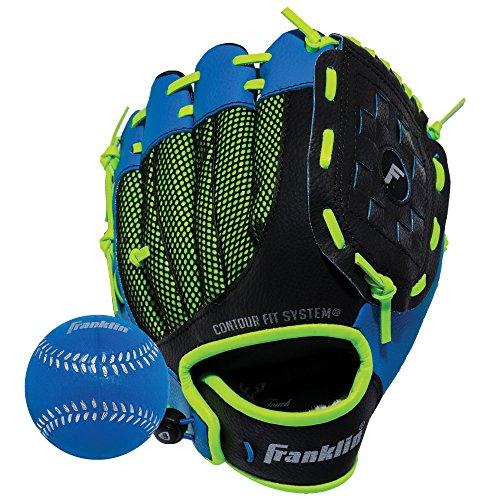"Franklin Sports Kids Baseball Glove - NeoGrip Boys + Girls Youth Tball Glove - Toddler + Youth Teeball, Baseball + Softball Mitt - Right Hand Throw - 9.5"""