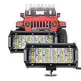 YUGUANG 7 inch LED Light Bar 6000K 60W 12000LM LED Driving light Off Road Lights 4 Rows 8D Lens Spot LED Pod Work Lights Waterproof for Trucks Pickup ATV UTV SUV Boat (2 Pack)