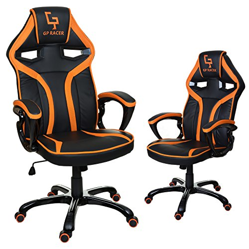 GIOSEDIO GP Racer Gaming Chefsessel Bürostuhl Modisch Racing Stuhl Computerstuhl (Schwarz/Orange)