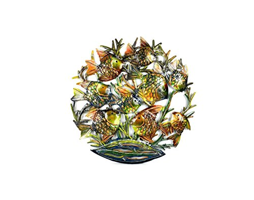 Global Crafts 24' Recycled Handmade Haitian Metal Wall Art Sea Life, School Fish