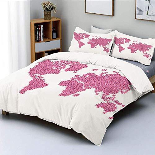 Juego de funda nórdica, superficie de la tierra, temporada de primavera, jardín de flores, motivación, frescura, geografía, juego de cama decorativo de 3 piezas con 2 fundas de almohada, rosa intenso,