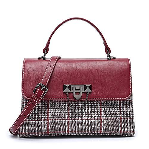 Niustore Plaid diagonaal schoudertas, vintage handtas, kleine vierkante tas (rood)
