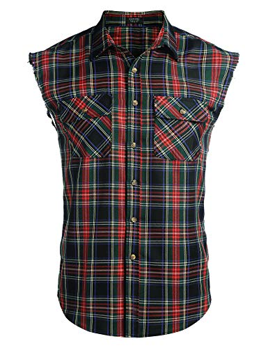 COOFANDY Herren Ärmellose Kariert Flanell Hemden Freizeithemd aus Baumwolle Sleeveless T-Shirt