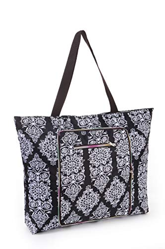 Women Beach Tote Utility Bag with Zipper, Black Mandala Boho Foldable Cute Large Swim pool Waterproof Bag for Travel, Gym, yoga, Mom in Law Female Friend Sister Wife Girlfriend Good Gift