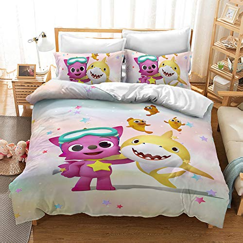Enhome Duvet Cover Bedding Set for Single Double King Size Bed, 3D shark Print Microfiber Duvet Set Quilt Case with Pillowcases (Baby shark3,135x200cm(2pc))