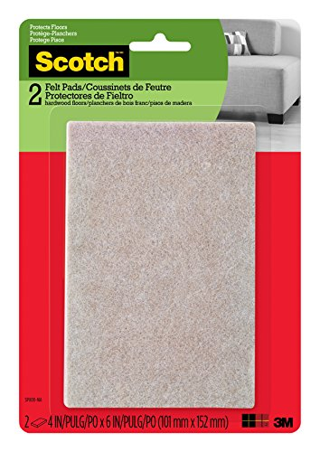Scotch Mounting, Fastening & Surface Protection SP800-NA Scotch Brand 3M, for protecting hardwood floors, Rectangle, Beige, 4 in. x 6 in, 2 Pack Felt Pads