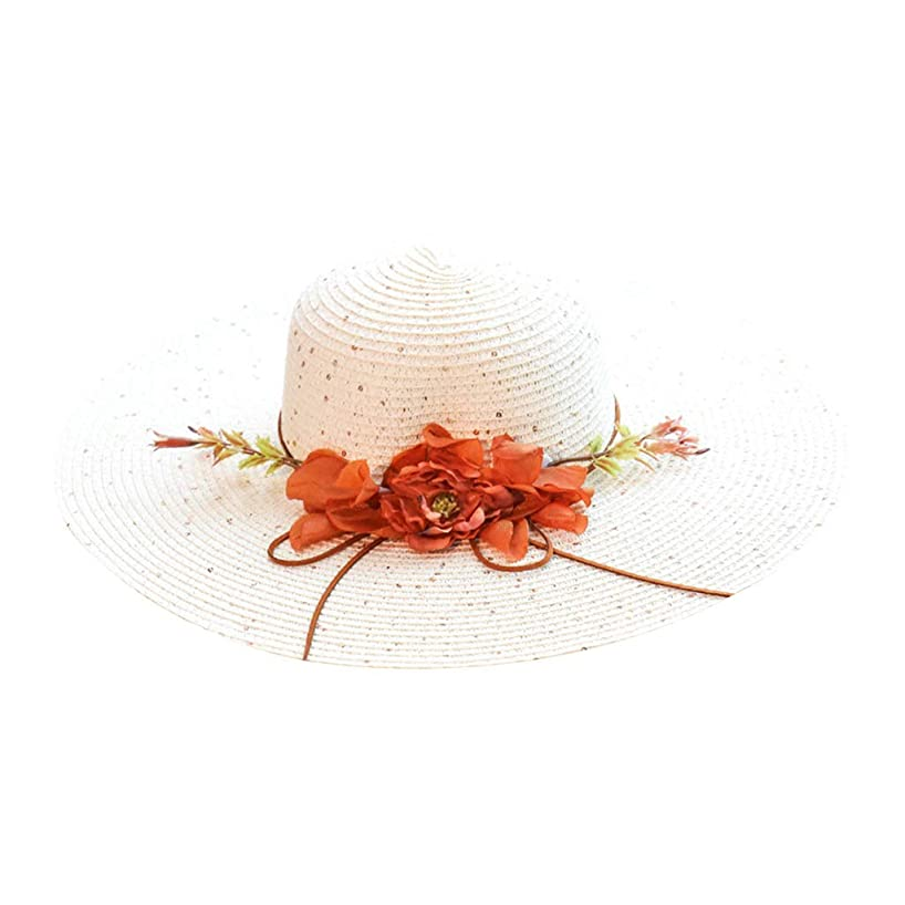 oukery Sun Hat, Womens Extra Large Wide Brim Straw Floppy Sun Visor Hat Artificial Flower Ribbon Bowknot Glitter Sequins Sunscreen Beach Cap Foldable with Chin Strap