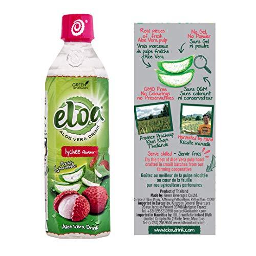 ELOA - Conventional Aloe Vera Drink - Boisson à l'Aloe Vera - Lychee Flavour - Saveur Litchi (12 bottle case - carton de 12 bouteilles)