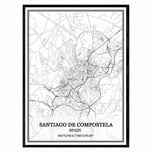 Santiago de Compostela España Mapa de pared arte lienzo impresión cartel obra de arte sin marco moderno mapa en blanco y negro recuerdo regalo decoración del hogar