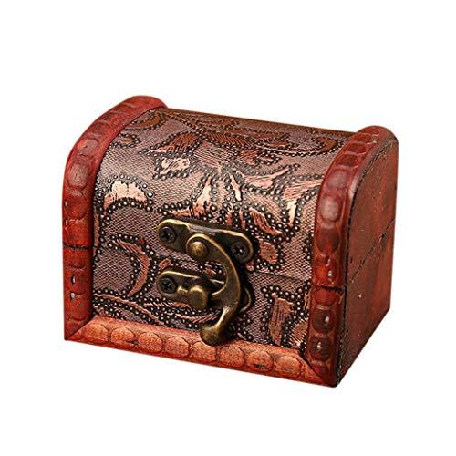 DIPOLA Schmuckschatulle Vintage Holz Handmade Box mit Mini Metallschloss Lagerung Schmuck Perle (Braun) Alte Alte Dekorative Holzkiste Kleine Box Pralinenschachtel