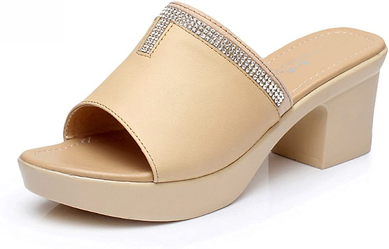 Mobnau Women's Leather High Heel Beaded Sandals Slide Sandles