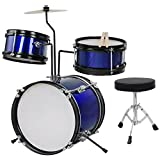 3-Piece Drum Set Kit Junior Kid's Children's Size with Throne Cymbal Bass Sticks Pedal US Delivery (Blue)