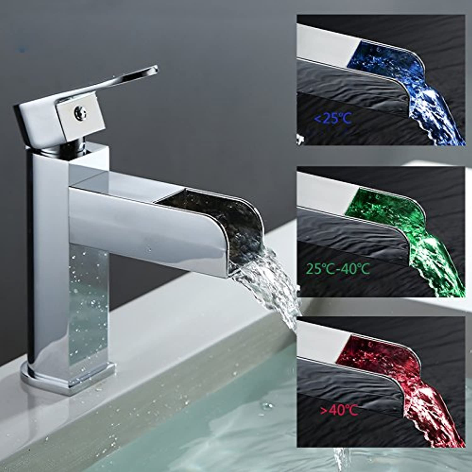 Global Brands Online GAPPO GLD3919 Temperature LED Light Single Handle Single Hole Hot and Cold Water Sink Faucet