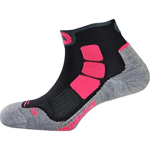 MONNET - Chaussettes Trail AIR - Sechage Rapide - Confort - Aeration - 35/36 - Gris/Noir/Rose