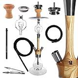 Kaya Madera - Juego de cachimba (73 cm de alto, madera y acero inoxidable, pipa de agua, 2 conexiones, recolector de melaza y accesorios (madera de haya)
