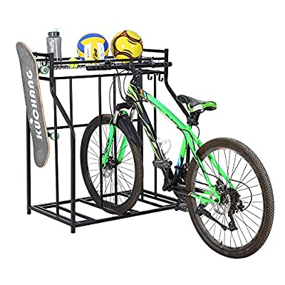SNAIL 3 Bike Stand Rack with Storage for Garage Use, Freestanding Bicycle Instant Floor Parking Stand for Parking Road, Mountain, Hybrid or Kids Bikes, Sports Storage Station Garage Organizer - Black
