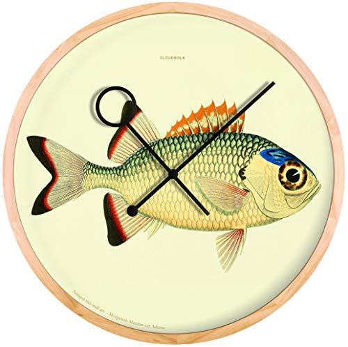 Cloudnola Myripristis klok – Wanddecoratie met vis ontwerp – Moderne Designer Wandklok – 42 cm diameter, geruisloos uurwerk, werkt op batterijen