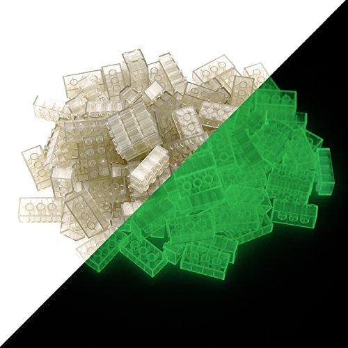 lumentics Leuchtsteine - Im Dunkeln leuchtende Spielsteine. Mehrfarbig, kompatibel, passgenau und geprüft. Leuchten ca. eine Stunde. (Menge: 100Stk 2x4, Transparent)