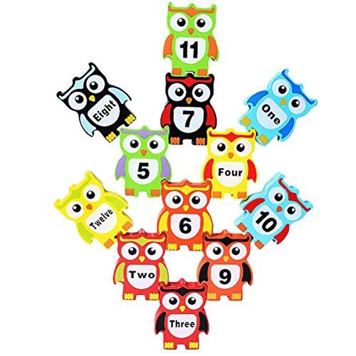 Atrumly Bloques de construcción de madera número palabras búho forma equilibrio apilamiento niños búho juguetes de desarrollo educativo