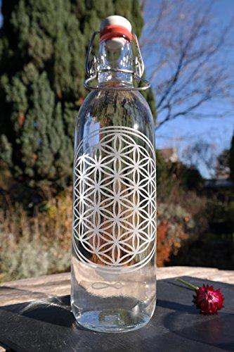 Freiglas 1,0l Trinkflasche aus Glas *Blume des Lebens* 100% plastikfrei, nachhaltig,