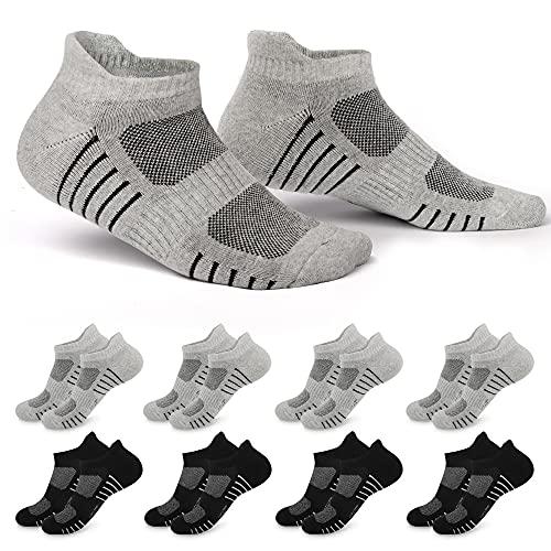 EKSHER 8 Paar Sneaker Socken Herren 43-46 Schwarz Grau Atmungsaktiv Laufsocken Kurze Sportsocken