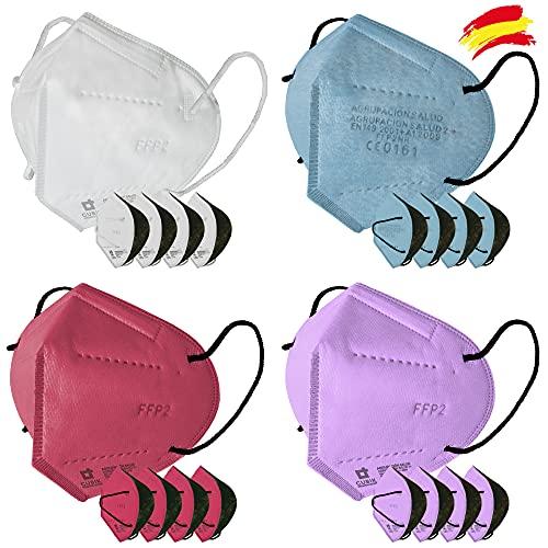 Mascarilla FFP2 Colores Interior negro anti maquillaje 20 unidades Fabricada en España Alta eficiencia 5 capas Homologada CE 0161 Blanca Lila Fucsia Celeste