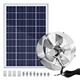 ECO-WORTHY Large Airflow Transfer 3000 CFM 12 inch Solar Powered Attic Fan with Upgraded Fan Motor + 25W Portable Solar Panel, Cools Ventilate and Against Moisture Build-up