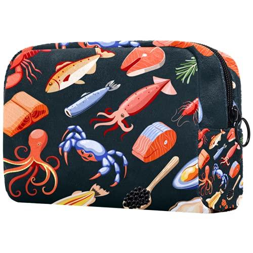 Bolsa de brochas de maquillaje personalizable, portátil, bolsa de aseo para mujer, organizador de viaje de cosméticos, alimentos de mar, salmón, calamares, caviar, mejillones, cangrejos y ostras